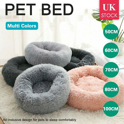 Comfy Calming Dog/Cat Warm Bed Pet Round Super Soft Plush Marshmallow Puppy Beds • 20.79£