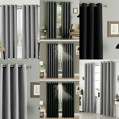 Readymade Blackout Curtain Pair Eyelet Ring Top Panel Silver Grey Charcoal Black • 18.99£