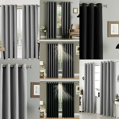 Readymade Blackout Curtain Pair Eyelet Ring Top Panel Silver Grey Charcoal Black • 16.99£