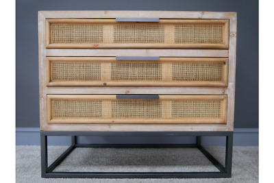 Rattan Wicker & Fir Wood Chest Of Drawers Unit • 185£