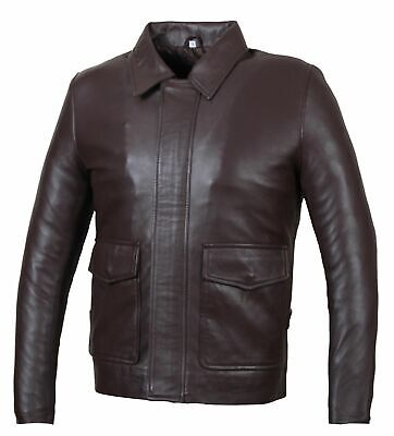 New Indiana Jones Harrison Ford Classic Genuine Real Cowhide Leather Jacket • 65.24£