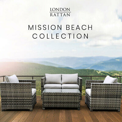AU779 • Buy 【EXTRA15%OFF】LONDON RATTAN Outdoor Furniture 4pc Setting Chairs Lounge Set