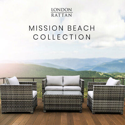AU649 • Buy LONDON RATTAN Outdoor Furniture 4pc Setting Chairs Lounge Set Wicker Couch Sofa