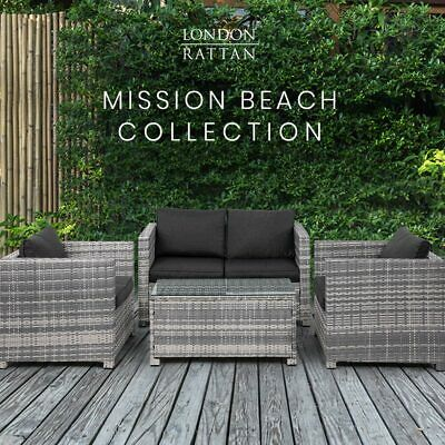 AU819 • Buy LONDON RATTAN Outdoor Furniture 4pc Setting Chairs Lounge Set Couch Sofa