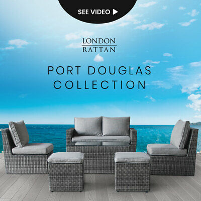 AU929 • Buy LONDON RATTAN Outdoor Furniture 6pc Setting Chairs Lounge Set Wicker Couch