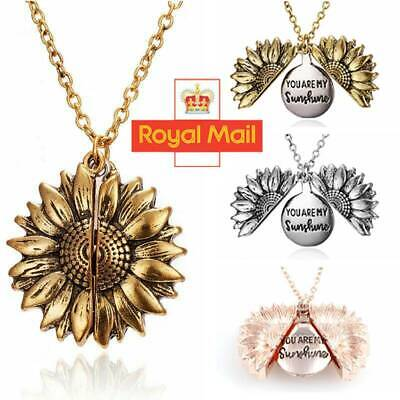 You Are My Sunshine  Open Locket Sunflower Fashion Pendant Necklace Women Gifts • 2.98£