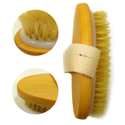 Natural Bristle Body Brush Dry Cleansing Exfoliating Anti Cellulite Skin Scrub • 3.13£