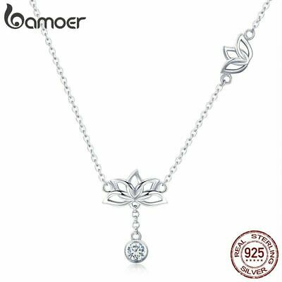 $ CDN22.43 • Buy Elegant 925 Sterling Silver Lotus Flower Pendant Necklaces For Women CZ Jewelry