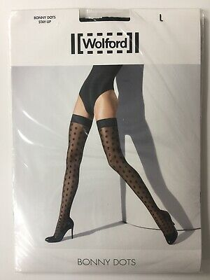 WOLFORD Bonny Dots Stay-Ups/Hold-Ups - Large/Black/Black NEW • 25.99£