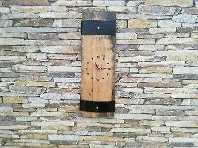 Solid Oak Whisky Barrel Wall Clock 2 Staves Handcrafted Feature For The Home • 25£