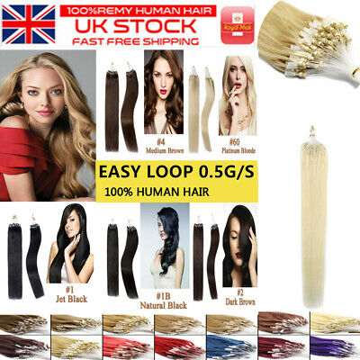 14 -26  Micro Loop Ring Beads Nano Russian Remy Human Hair Extensions 100s UK • 31.35£