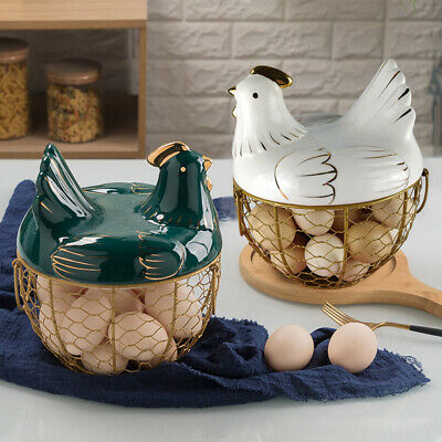 Home Kitchen Hen Shape Egg Holder Storage Nest Basket Cockerel Chicken With Lid • 29.99£