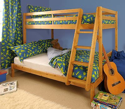 £179.99 • Buy Triple Bunk Bed 3ft & 4ft Wooden Pine With Storage & Mattress Options - Durleigh