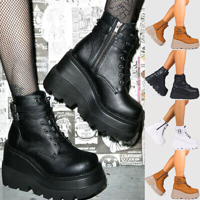 Women Chunky Platform Wedge Heel Ankle Boots Goth Punk Zipper Lace Up Boots Size • 25.99£