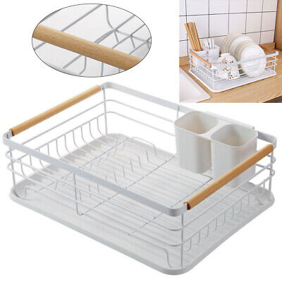 Dish Drainer W/ Drip Tray Kitchen Sink Rack Detachable Drying Rack Dishes White • 16.95£