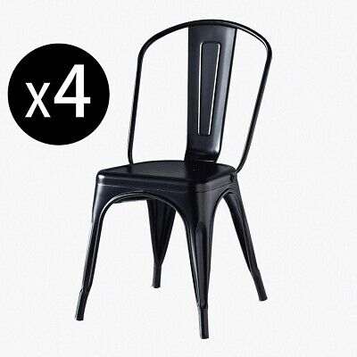 £139.90 • Buy Set Of 4 Tolix Style Metal Dining Chairs Black Industrial Home Garden Chairs UK