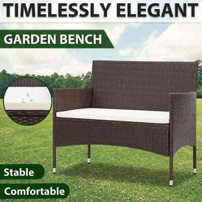 AU77.99 • Buy VidaXL Garden Bench With Cushion Poly Rattan Brown Outdoor Seating Furniture