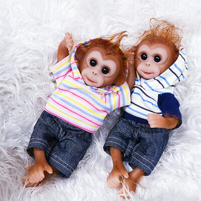 26cm Cute Mini Toy Realistic Monkey Soft Silicone Lifelike Reborn Doll Child • 25.24£