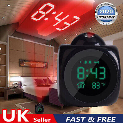 Digital LED Projection Alarm Clock Projector LCD Voice Talking Time Temperature • 7.59£