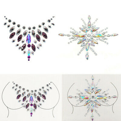 Chest Gems Adhesive Glitter Jewel Sticker Tattoo Festival Rave Party Body Makeup • 0.99£