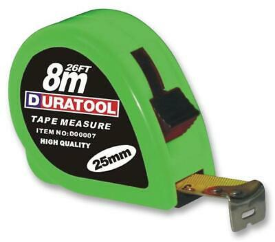 Tape Measure, 8m, Blade Width 25mm, Case Colour Green, Measuring Ra For Duratool • 9.75£