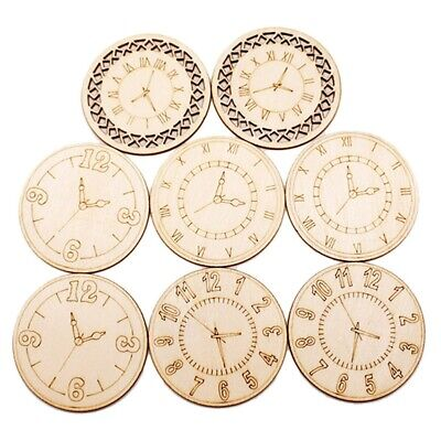 8 Pcs 45mm Wood Decors Vintage Wooden Sticker For Sewing Projects DIY Crafting • 3.37£