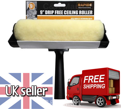 9  Large Ceiling Anti Non Drip Free Paint Decorating Roller Guard Brush Tool New • 7.45£