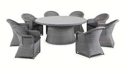 AU3190 • Buy NEW Plantation 8 Seater Outdoor Wicker Round Patio Dining Table + Chairs Setting