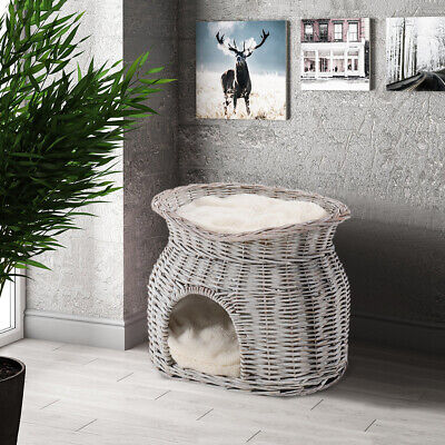 Cushioned Wicker Pet Cave Bed Handmade Basket House Cat Sleeping Station 2 Tiers • 35.95£