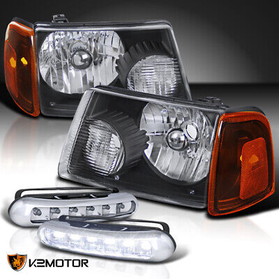 $82.38 • Buy Fit 01-11 Ford Ranger Black Headlights+Amber Corner Signal Lamps+LED Fog Lights