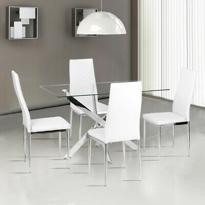 Glass Cross Chrome Legs Dining Table& 2/4/6Chairs Set PVC Leather Kitchen Office • 102.95£