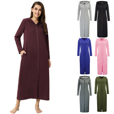 Fashion Womens Long Sleeve Hoody Sweatshirt Hooded Zip Front Long Dressing Gown • 21.15£