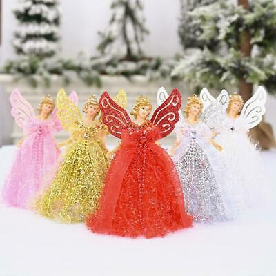 Christmas Angel Fairy Tree Topper Silver Blue Red White Decorations • 4.26£