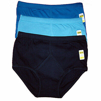 3 Mens Y Fronts 100% Cotton Interlock Briefs Underwear S M L XL XXL • 6.49£