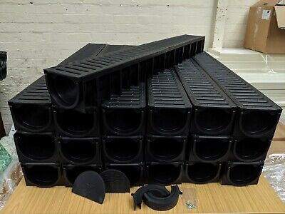 £183 • Buy DRAINAGE CHANNEL DRIVEWAY & PATIOS 19mtr Plastic Grating Inc FREE ACCESSORIES
