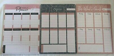 A4 Weekly Planner Organiser Goals Pad Tear Off Notes Office Work Desk To Do List • 3.99£
