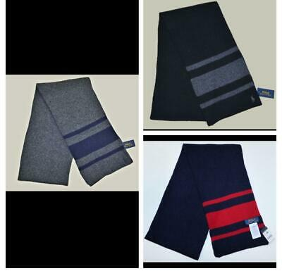 $39.99 • Buy New Polo Ralph Lauren Mens Wool Scarf Cashmere Blend Rugby Black Gray Blue NWT