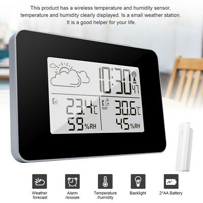 Wireless LCD Weather Forecast Station Thermometer Barometer Outdoor Sensor Hju • 17.51£