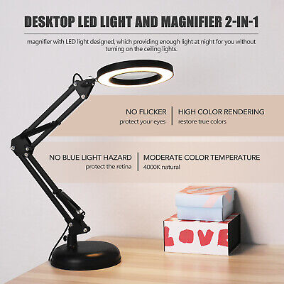 5X Magnifier Glass LED Desk Reading Lamp With Stand Foldable Magnifying Lamp • 14.69£