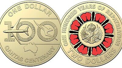 AU9.99 • Buy 🔥🔥 2019 $2 Dollar Repatriation + 2020 $1 Dollar Qantas Centenary Coins UNC🔥🔥