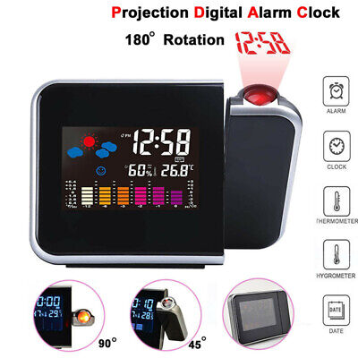 LED Digital Projection Clock LCD Backlite Time Thermometer Snooze Alarm Calendar • 7.99£