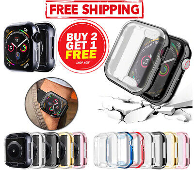 $ CDN3.78 • Buy For Apple Watch SE 6 5 4 3 2 1 Tempered Glass Hard Full Cover Case Slim IWatch