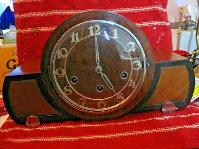 Art Deco Westminister Chime Mantle Clock - Haller , Key & Pendulum (not Working) • 65£