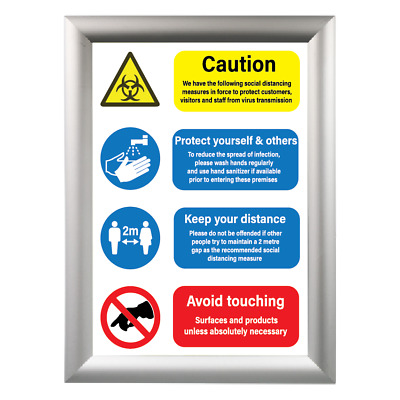 £5.49 • Buy Health And Safety A3 A4 Social Distance Wash Sanitise Hands 2 Metre Poster Signs
