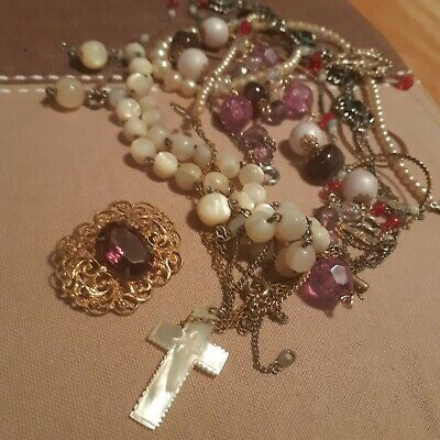 $ CDN29 • Buy Vintage Jewelry Lot For Sale Choker Necklaces Mother Of Pearl Victorian Brooch