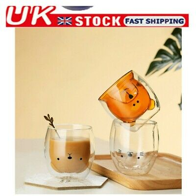 Cute Bear/Cat Mugs Double-Wall Insulated Glass Tea Cup Espresso Cups 300ml Gift • 9.09£