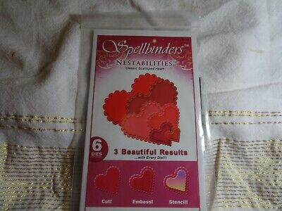 Spellbinders  Nestabilities Classic Scalloped Hearts Very Lightly Used • 2.99£