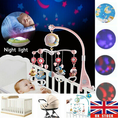 Baby Musical Crib Bed Bell Cot Mobile Moon & Star Night Light Nusery Lullaby Toy • 22.78£