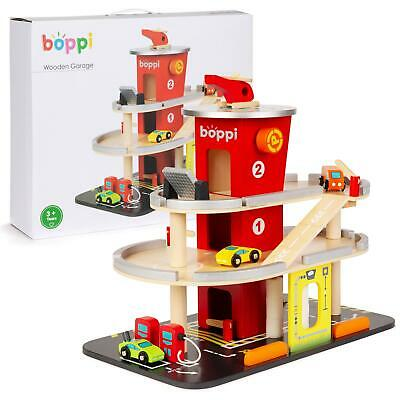 Boppi Wooden Toy Garage Carpark Petrol Station 3 Cars Helicopter Lift & Car Wash • 36.99£