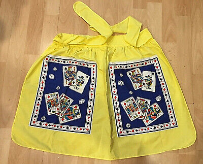 Vintage 1950's St Michael Playing Card Pinny 1/2 Apron Housewife Yellow Cotton • 16.99£